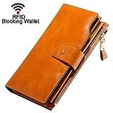 Monederos Mujer Cartera de Mujer de Gran Capacidad con RFID Bloqueo Bolsos Largo de Mujer con Cremallera de Bolsillo (Empaquetado con Caja de Regalo)