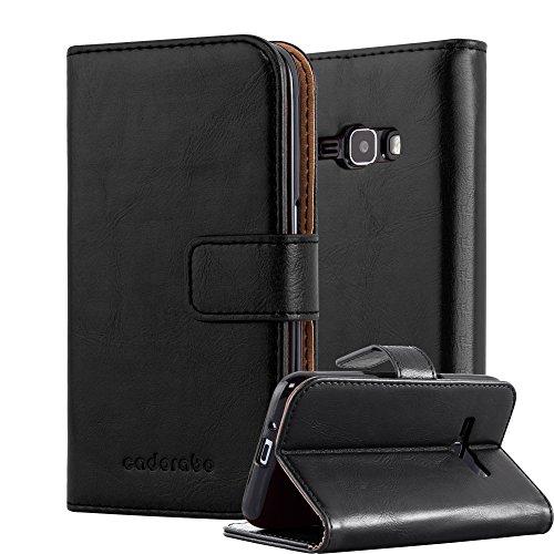 Cadorabo Coque pour Samsung Galaxy J1 2016 en Noir DE Jais - Housse Protection avec Fermoire Magnétique, Stand Horizontal et Fente Carte - Portefeuille Etui Poche Folio Case Cover