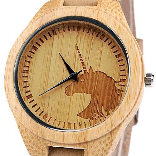 Herren Damen Einhorn Uhren Leichte Beiläufige Hölzerne Armbanduhr Geschenke