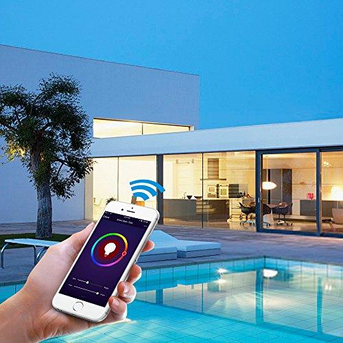 Smart LED Wifi lampe,MEAMOR 7W Dimmbar Glühbirne RGB+Warmweiß E27 Birne Mit Alexa und Google Home,Steuerbar via App,60W äquivalent[Energieklasse A+] - 4