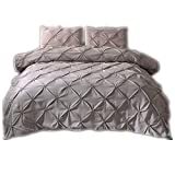 CHAOSE Einfarbig, Hotel, Haus Special Bettwäsche Set,Superweiche Polyester-Baumwolle,3-teilig (1 Bettbezug + 2 Kissenbezüge 48x74cm) (Grau, Double Size(200x200CM 1.8M Breites Bett))