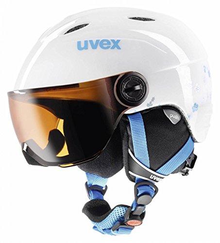 UVEX Kinder Junior Visor Skihelm, White-Turquoise, 52-54 cm