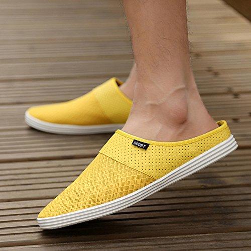 XIANV Männer Hausschuhe Mode Breathable Höhle aus Sandalen Flip Flops Leder Trend des Schleppens Gelb