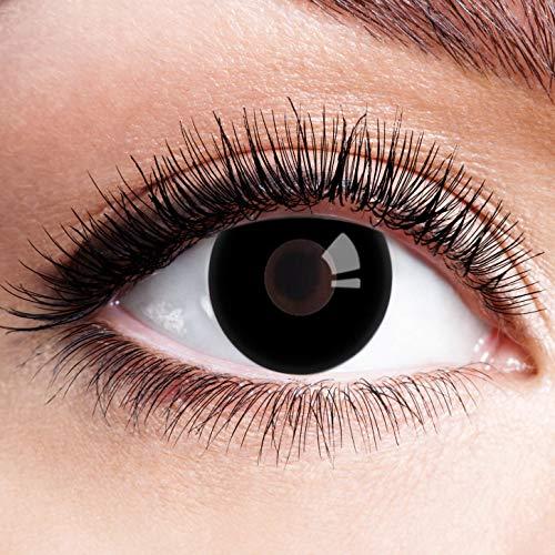 Farbige Kontaktlinsen Schwarz Ohne Stärke mit Motiv Schwarze Fun Linsen für Halloween Karneval Party Fasching Cosplay Kostüm Black Blind Eye
