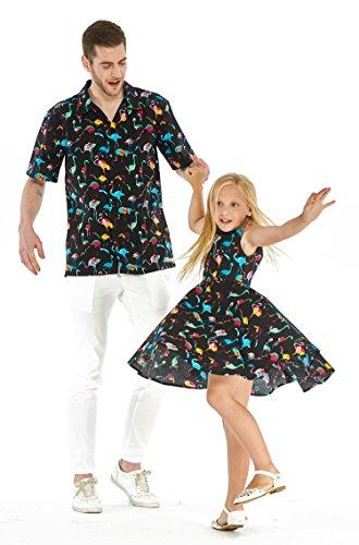 Hawaii-Hangover-padre-a-juego-hija-una-camisa-vendimia-Dressen-muchacha-de-la-danza-los-hombres-negros-M-tamao-menor-de-14