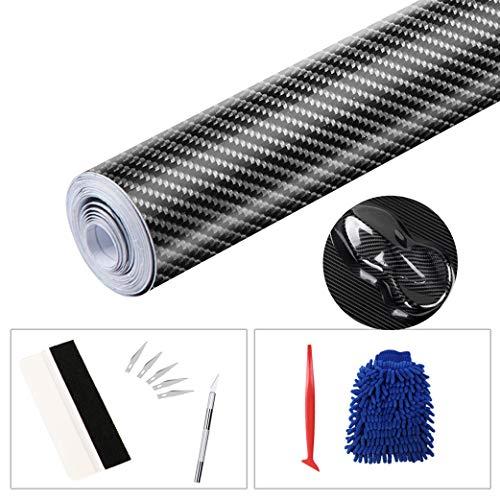 sfesnid 6D Carbon Folie + Folierungs-Werkzeug-Set, selbstklebend Autofolie DIY aus Carbon Vinyl, blasenfrei mit Luftkanälen Lackschutzfolie (300cm*30cm)