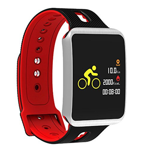 MinMin Smart Watch - Smart Farbe Armband wasserdichte elektronische Uhr Bluetooth Sport Lauf Gesundheit Schrittzähler Bluetooth Multifunktions Intelligentes Armband für Sportuhren (Color : Red)