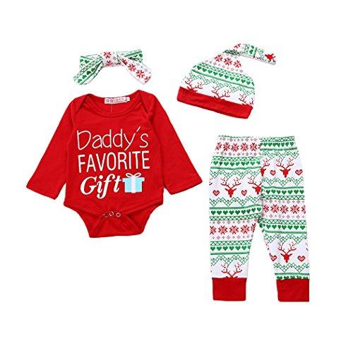 Hey~Yo Neugeborene Baby 4 Stück Tops + Hosen + Hut + Stirnband S?ugling Baby Stirnb?nder Junge M?dchen Lange Hülse Spielanzug Weihnachten Outfits Set (100cm)