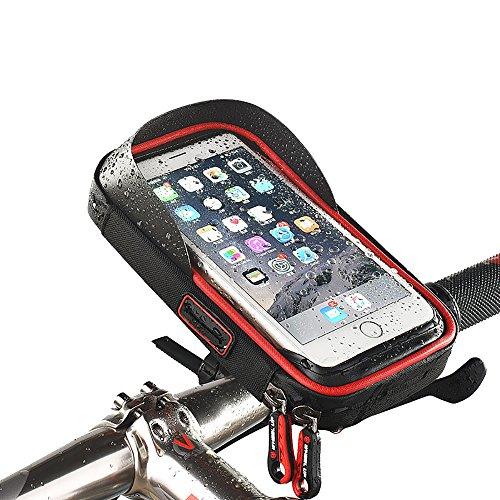 Wasserdichte Handy-Halterung für Fahrrad, Pioneeryao, 15,2cm (6 Zoll) Bildschirm, für Fahrradlenker, rot