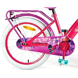 Bicicleta Chica 18 Pulgadas Trolls Ruedas Extraíbles la Cesta y Estante Rosa Púrpura 95% Montado
