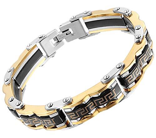AnazoZ Edelstahl Armband Für Herren Kette Armband Schwarz Gold Biker Kette ()