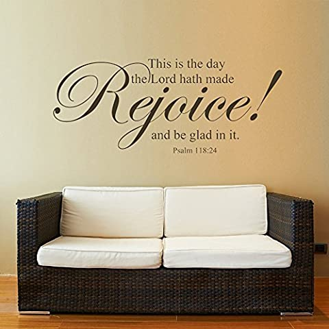 Bible Verse Wall Sticker Quotes Scripture Lord Vinyl Wall Decal Mural Wallpaper For Home This is the Day the Lord Made Rejoice and Be Glad in It??X-Large,Dark Brown?? by GECKOO