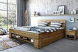Futonbett Wildeiche Massiv geölt 180cm inkl. 4 Bettkästen, Fußteilregal exsopo