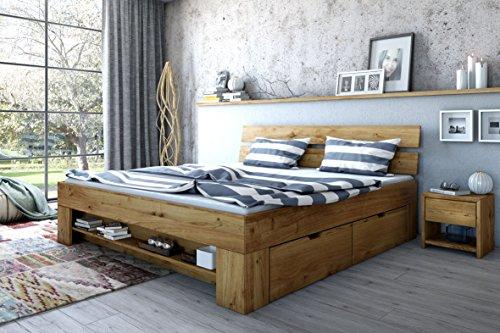 Elfo Futonbett Wildeiche Massiv geölt 140cm inkl. 4 Bettkästen, Fußteilregal exsopo
