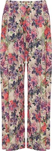 WearAll - Übergröße Damen Blumen Druck Weite Bein Palazzo Hosen - Lila Blume - 44-46 (Blumen-print-hose)