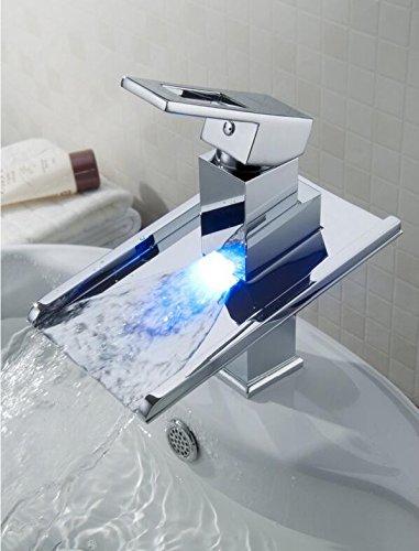 Makej Chrome Led Hohe Becken Wasserhahn Wasserhahn Neue Waschbecken Mixer Wasserfall Vanity Vessel Waschbecken Mischer Wasserhähne Armaturen (Chrome Luft Heiße)