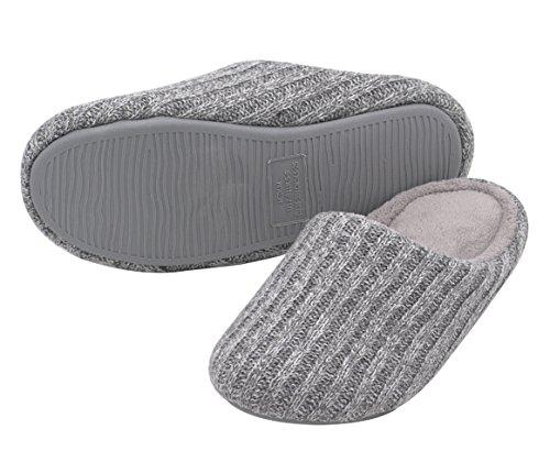 HomeTop Gestrickt Damen Hausschuhe Aus Kaschmir und Baumwolle IM Herbst und Winter für Drinnen (Baumwolle Loafers)