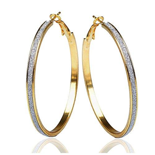 Zweifarbig Gold Glänzend Sparkle Große Runde Ohrringe Valentine'GM170 2's Day, Größe:, Farbe: Gold ()