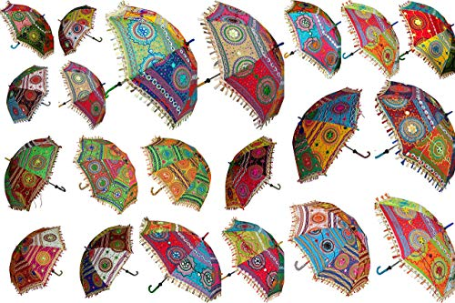 Paraguas de Boda Indio de Lote de 5 Piezas, decoración Hecha a Mano con Bordado de Elefante para decoración de sombrillas de algodón