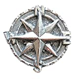 Emblems-Gifts Maritime Kompass Handgefertigt aus Bleifrei Zinn Revers Anstecknadel (Wa) + 59mm Knopf-Abzeichen