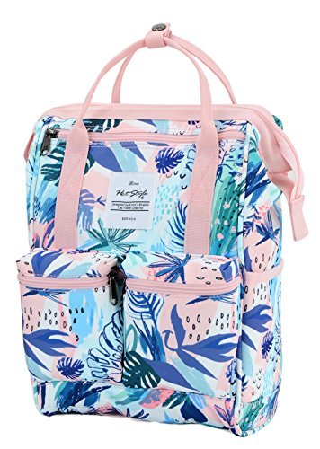 HotStyle DISA Fashion Blumen Damen Laptop Rucksack 9,7 zoll (37x23x14cm) - Rosa (Bag Army Handtaschen Junior)