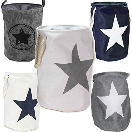 LS Design Wäschesammler Wäschetruhe Wäschesack Wäschekorb Star Sterne Weiss Silber