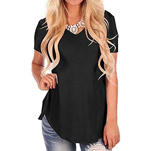 MEIbax T-Shirt Irrégulier à manches courtes à manches courtes pour femmes T-shirt noir à manches courtes, Lady chemise Veste Saison d'été
