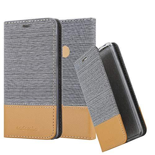 Cadorabo Hülle für WIKO View MAX - Hülle in HELL GRAU BRAUN - Handyhülle mit Standfunktion & Kartenfach im Stoff Design - Case Cover Schutzhülle Etui Tasche Book