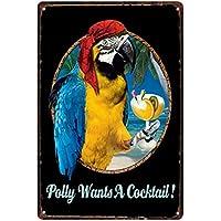 CAOLATOR Vintage Blechschilder Papagei Und Cocktail, 20x30cm Retro Schilder  Metall Wand Dekoration Einfach Eisen