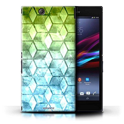 Kobalt® Imprimé Etui / Coque pour Sony Xperia Z Ultra / Bleu/verd conception / Série Cubes colorés Vert/Bleu