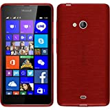 PhoneNatic Coque en Silicone pour Microsoft Lumia 540 Dual - brushed rouge - Cover Cubierta + films de protection