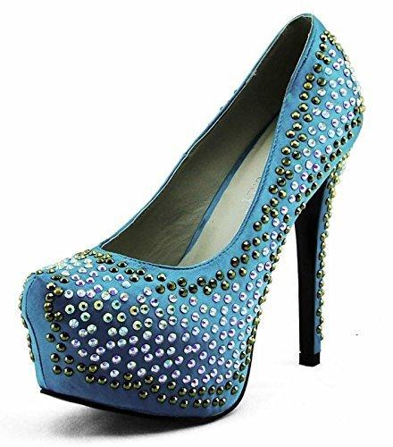 Schuhe Kaufen Online Günstig Damen-Plattform-Absatz-Partei-Hochzeit Glitter Stiletto Spitzschuh Größe 3-8 Stil 3 - Smaragd