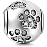 CHAWIN Ollia Jewelry - Abalorio de Plata de Ley 925, para Pulsera, con diseño de Huellas, en Forma de Bola, Estilo Europeo …