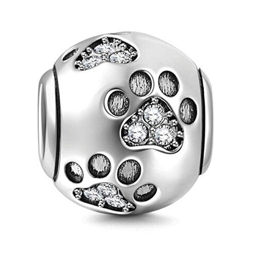 Chawin ollia jewerly ciondolo in argento sterling 925 massiccio, con impronte di zampe, con cristalli trasparenti, design a forma di perlina in stile europeo. …