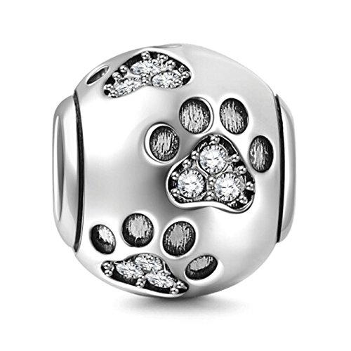CHAWIN Ollia Jewelry - Abalorio de Plata de Ley 925, para Pulsera, con diseño de Huellas, en Forma de Bola, Estilo Europeo ...