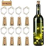 Flaschenlicht 8er 15 LED Korken mit Kupferdraht, ICOCO LED Lichterkette Glaslicht mit 36 Batterien, romantische Beleuchtung/Geschenkidee/Deko für Weinflasche DIY Party Hochzeit (warmweiß)