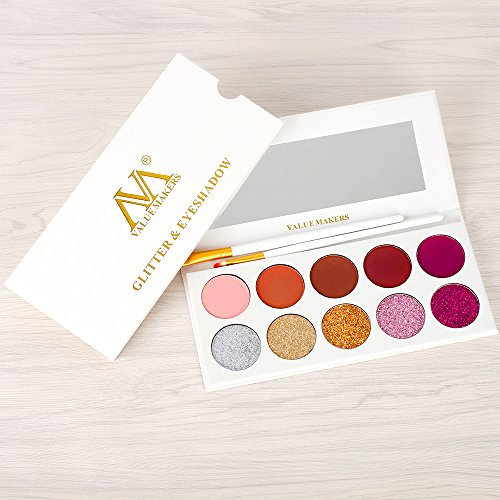 AFFLANO Eyeshadow Makeup Palette, 5 Glitter+5 Matte Eye Shadows - Mineral Pressed Glitter and Warm Natural Eye Shadow Powder - Highly Pigmented Waterproof Eye Shadows Set