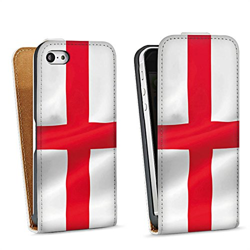 Apple iPhone 4 Housse Étui Silicone Coque Protection Angleterre Drapeau Drapeau Sac Downflip blanc