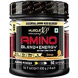 MuscleXP Amino Blend & Energy Powder, Orange, 400g, 50 Servings - Pre Workout