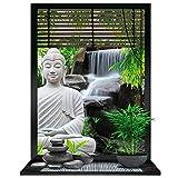 Les Trésors De Lily [P0362 - Sticker Trompe l'oeil 'Jardin Zen' Bouddha - 50x70 cm
