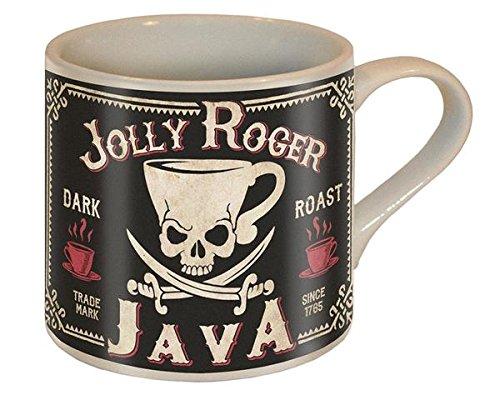 Jolly Roger Java Totenkopf und Schwerter Kaffee Tasse-Keramik Becher von Trixie & Milo-Kommt in einer Spaß Geschenk-Box