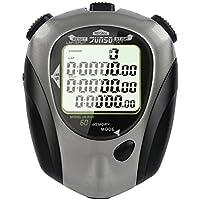 Stoppuhr,BizoeRade,60 Lap-Split-Speicher Stoppuhren,Countdown-Funktion, Metronom-Funktion, 3-Zeilen-Display Fitness-Stoppuhr mit EL-Hintergrundbeleuchtung (Grau)