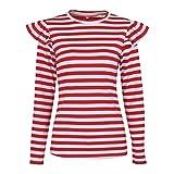 NiSeng Damen Longshirt T-Shirt Gestreift Strick Lose Rundhals Langarm Bluse Hemd Oberteil Baggy Tops Rot XL