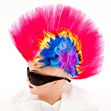 Irokese Perücke Karneval Iro Wig Afro Punker Party Biker Fasching Kostüm (Pink)