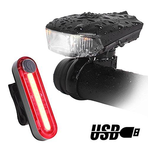 Unigear Luces Bicicleta Delantera 5 Modo + Trasera 6 Modo 400 Lúmenes Sensor Inteligente Super Brillante USB Recargable Impermeable Faro Bicicletas Foco Luz Para Bici Linternas LED Ciclismo Seguridad