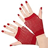 Dance Gear Short Fishnet Gloves Red - One Size