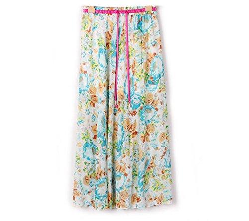 Kaxuyiiy Donne Boemia estate fiore farfalla partito spiaggia elastico in vita maxi gonna a pieghe lunga Long Skirt Rosa blu