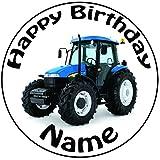 Personalisierter Blauer Traktor Zuckerguss Kuchen Topper / Kuchendekoration - 20 cm Großer Kreis - Jeder Name Und Jedes Alter