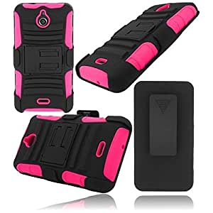 HR Wireless Huawei Valiant/Huawei Ascend Plus H881C Side Stand Cover with Holster - Retail Packaging - Black/Hot Pink