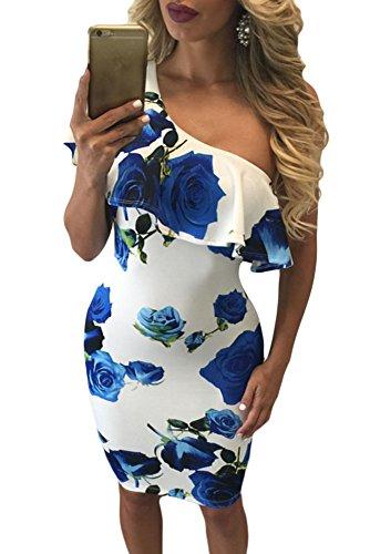 Lets Shopping imprimerie volant d'un épaule Club robe d'été à moyenne jambe (US 8-10)M Verdoso bleu